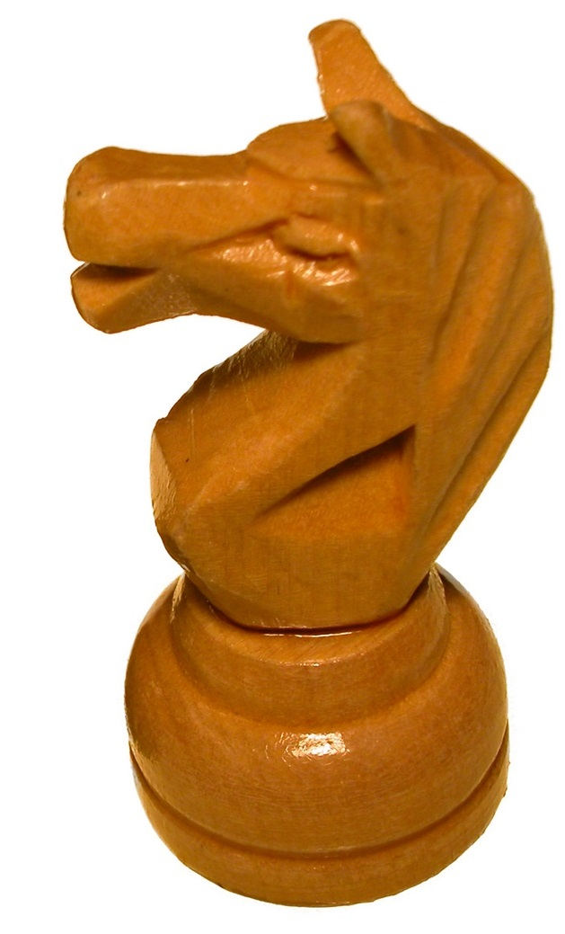 probably a wooden carved chess piece: a knight