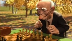 cartoon of old man in park, playing chess with himself